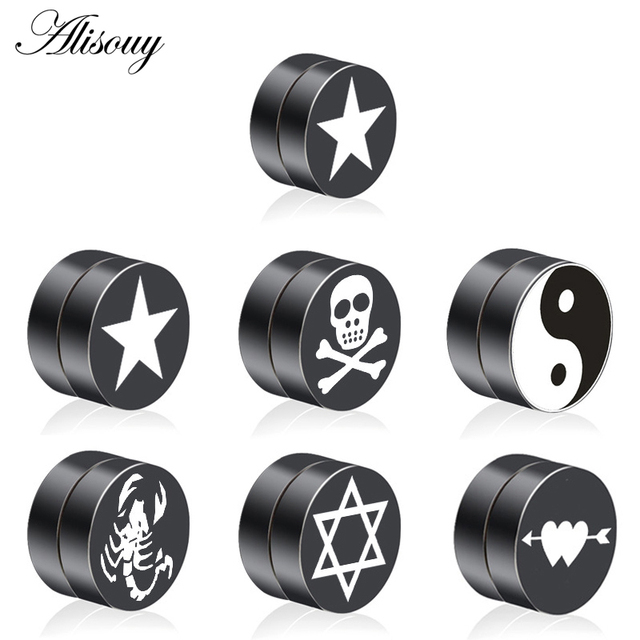Pair Mens Earring Set Stainless Steel Circle Magnetic Clip Stud Earrings Magnet Fake Plugs No Piercing.jpg 640x640 - Pair Mens Earring Set Stainless Steel Circle Magnetic Clip Stud Earrings Magnet Fake Plugs No Piercing Clip On Unisex Jewelry