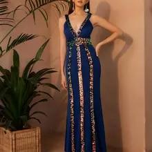 Angel-fashions V Neck Sequined V Back Mermaid Long Prom Dress Blue 553