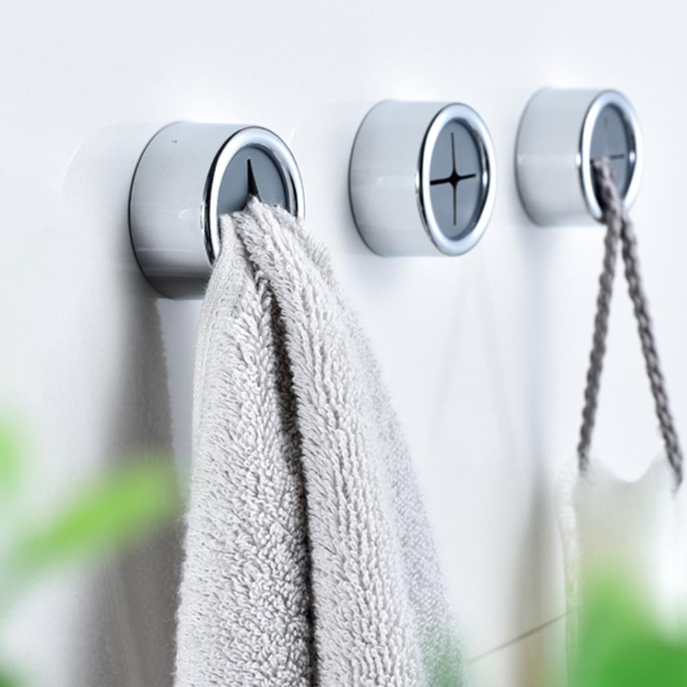 3pcs Wall Hook Self Adhesive Towel Holder Nail Free Multipurpose Bathroom Waterproof ABS Door Back Round Seamless No Trace
