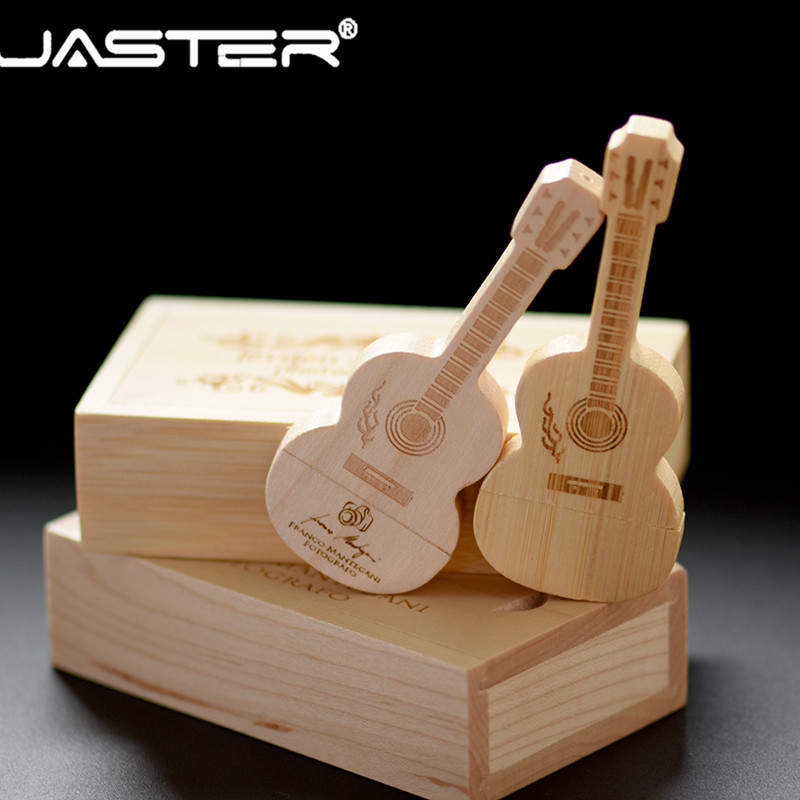 JASTER Logo Customized Wooden Guitar Pendrive Guitars Usb 2.0 Flash Drive Memory Stick 4GB 8G 16GB 32GB 64GB Metal Keychain Gift