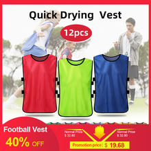 Adultes 12 pièces Football Pinnies séchage rapide Football gilet maillots Scrimmage sport gilet respirant équipe formation bavoirs bavoirs Football(China)