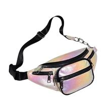 Fashion Holographic Women Fanny Pack Belt Bag Shiny Laser Crossbody Chest Bag Large Capacity Women Leather Shoulder Waist Bags колье vittorio richi vittorio richi mp002xw1hmpc