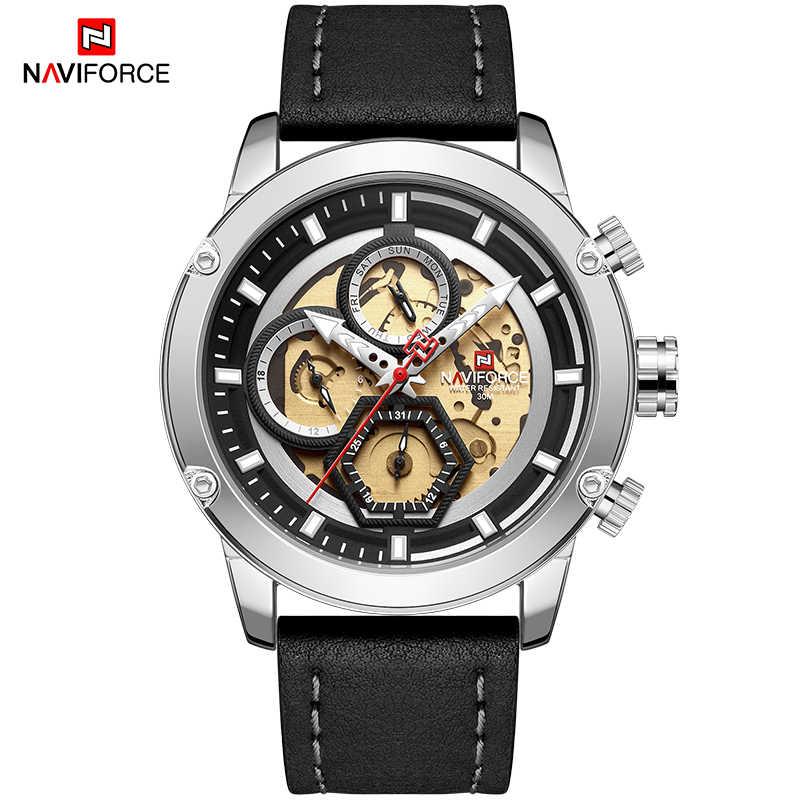 Reloj de pulsera para hombre de marca NAVIFORCE reloj de pulsera militar deportivo de cuarzo de cuero de moda de lujo para hombre