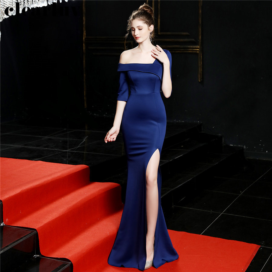 One-shoulder Mermaid Evening Dress Navy Blue Plus Size Women Party Dress DX245-3 2019 High Side Split Robe De Soiree Formal Gown