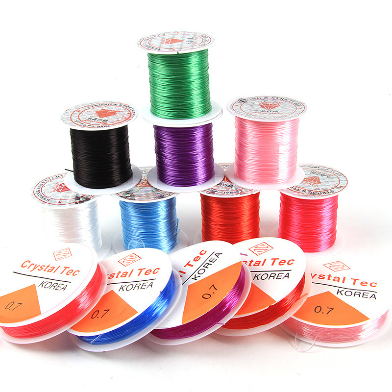 0.8mm10m/Roll Wire Long Rosary Beads Elastic Line DIY Beaded Core-Spun Elastic Thread Line Tools Beading Cord