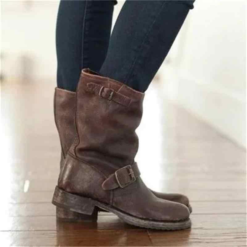 Yeni Kadın Orta Buzağı Çizmeler Sonbahar Kış Düşük Topuk PU deri ayakkabı Rahat Roma Sıcak Kadın Kar Botları Ayakkabı Dropshipping