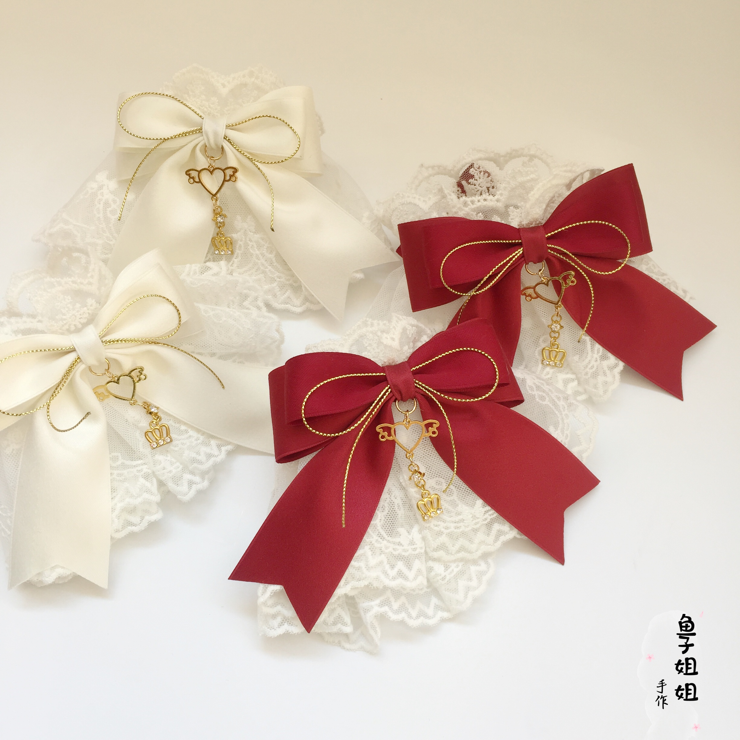 Lolita Hand Made Small Things Bride White Lace Elastic Hand Cuff Lolita Dark RED Bow Hand Cuff