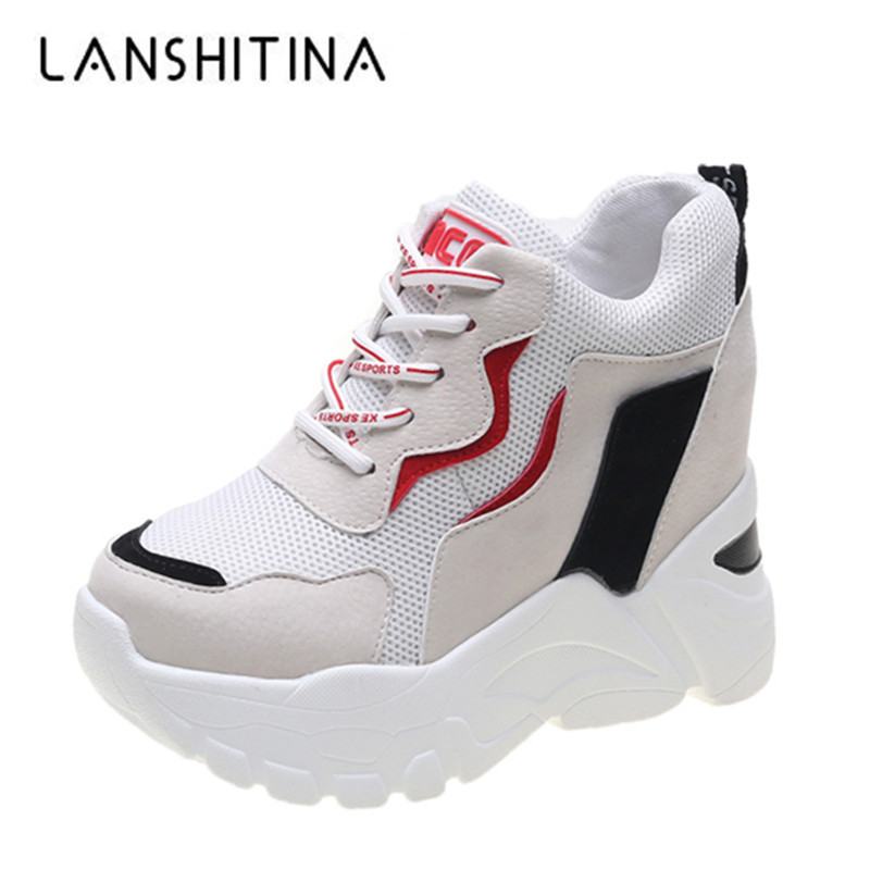 2019 Women Autumn Sneakers Platform 9CM Heels Casual Shoes Thick Sole Breathable Ladies Vulcanized Shoes Sneakers Zapatos Mujer