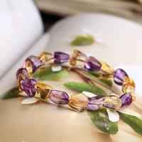 Genuine Natural Purple Yellow Crystal Beads Bracelet 12*11mm Beads Bracelet Healing Men Women Yoga Hand String Jewelry Gift