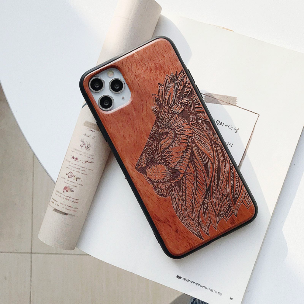 Natural Laser Carving Wooden Phone Case For iPhone 12 Pro Max 9