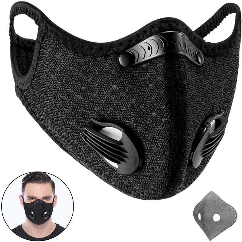1pcs Unisex Breath Valve PM2.5 Mouth Mask Anti-Dust Anti Pollution Mask Cloth Activated Carbon Filter Respirator Cycling Masks