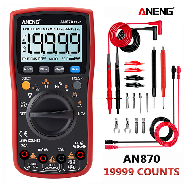 ANENG AN870  Digital Multimeter 19999 Counts True Rms Multimeter Transistor Tester Voltimetro Profesional Capacitance Meter