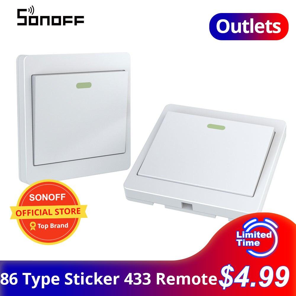Наклейка на выключатель SONOFF 433 с пультом дистанционного управления 86 типа RF 433 МГц наклейка светильник ель света работает с переключателем ...