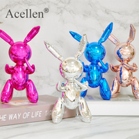 Cute Balloon Rabbit Statue Resin Sculpture Animal Figures Home Decor Modern Nordic Home Decoration Accessories for Living Room