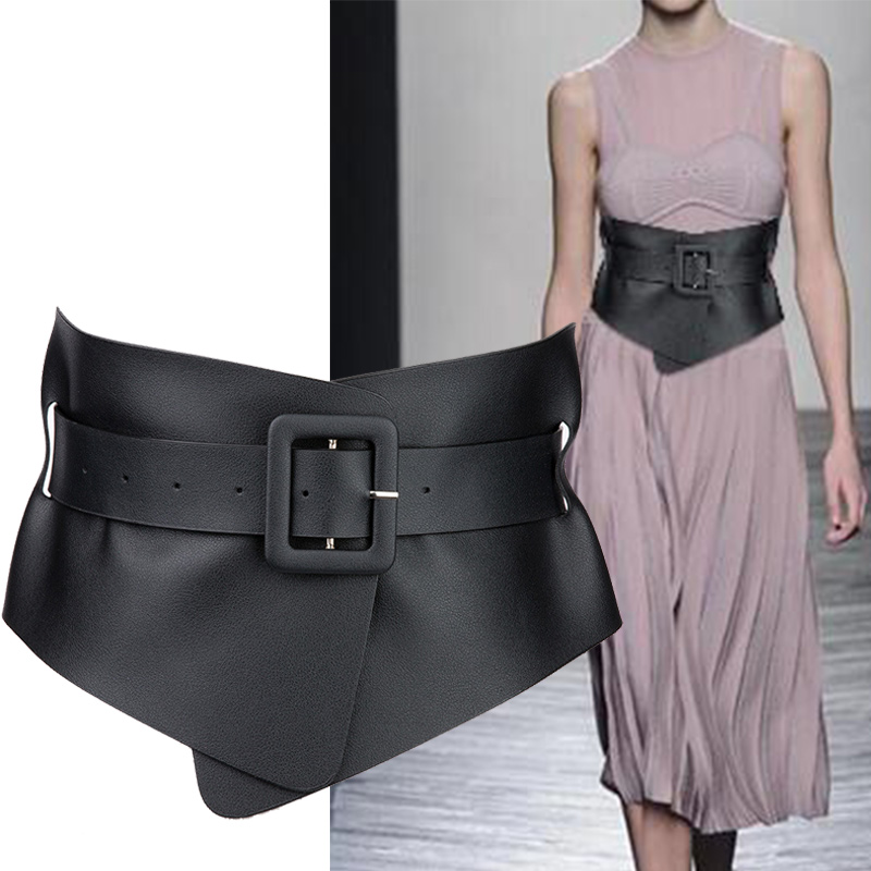 Belt Ladies Cummerbunds Accessory Punk Gothic Faux Leather Belts For Woman Belt Classy Elastic Femme 4 Color