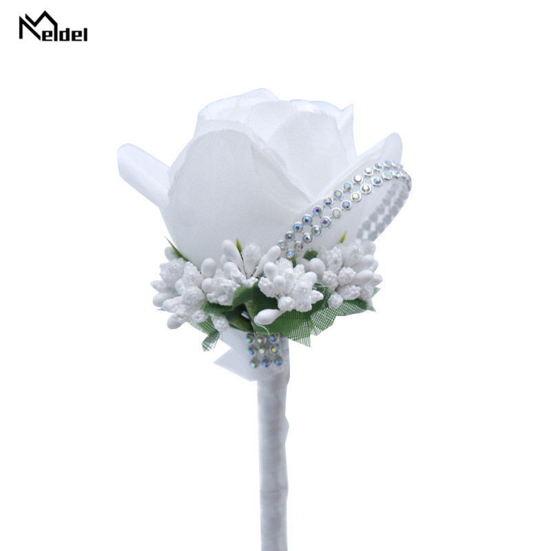Meldel Wedding Corsages And Boutonnieres Artificial Roses Silk Groom Boutonniere Flower Groomsman Buttonhole Mariage Accessories