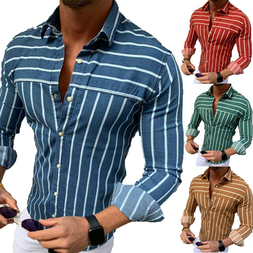 Men Business Stripe Print Turn Down Collar Button Long Sleeve Shirt Top