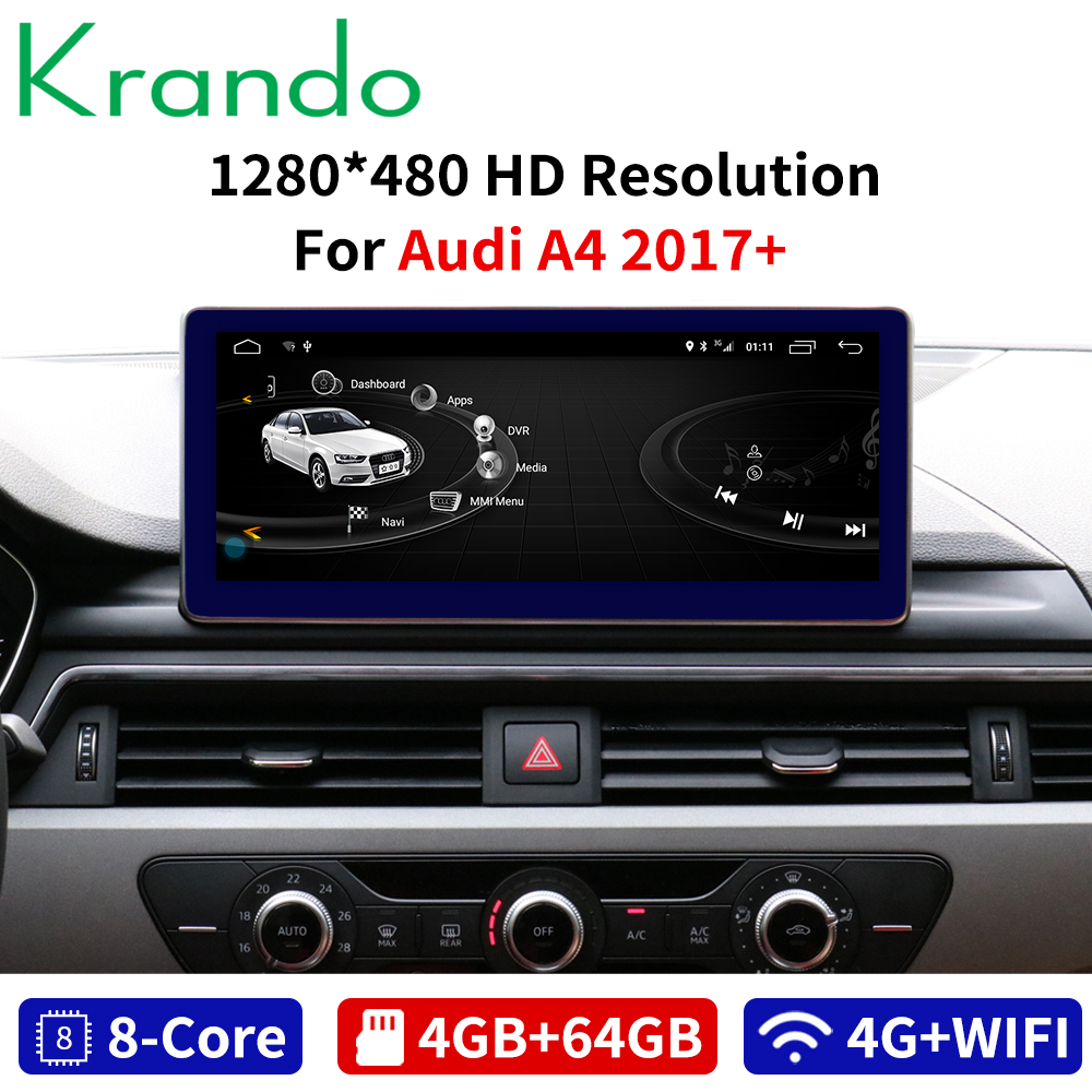 Krando Android 8.1 <font><b>10.25</b></font>'' IPS 4+64G blue ray car radio dvd navigation GPS for <font><b>Audi</b></font> <font><b>A4</b></font> A4L 2017+ multimedia system player 8 CORE image