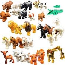 Único grande tijolos compatível blocos duplos série animal modelo figuras bloco de construção dinossauro elefante crianças brinquedos educativos