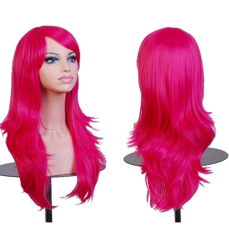Allaosify Long Women Synthetic Cosplay Wigs Hair Black Red Blue Pink Blonde Wigs For Women Halloween Wigs With Bangs
