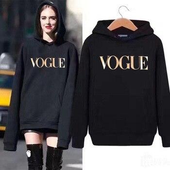 Vogue Golden Letter Print Hoodies Women Velevt Sweatshirt Round Neck Long Sleeve Loose Hoodie With Hat Streetwear Moletom
