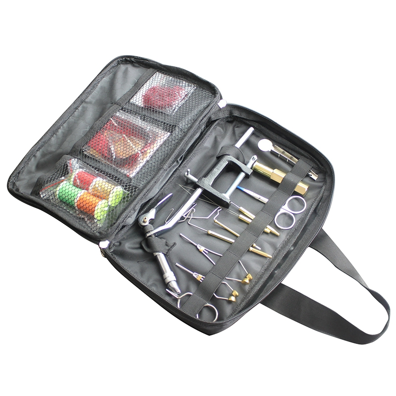 1 Set Fly Fishing Fly Tying Tools Kit in Portable Pack Bag Including Vise Bobbin Hackle Pliers Etc.