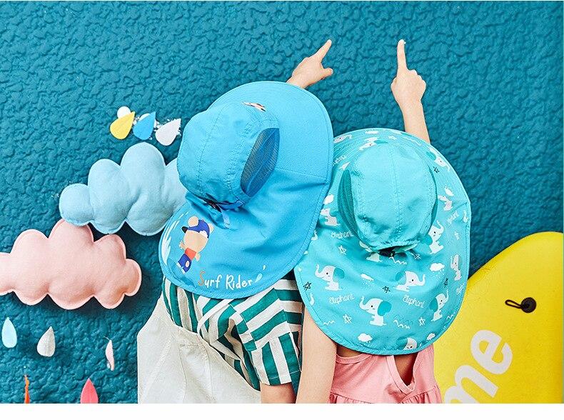 praia chapéus crianças pescoço capa de orelha anti uv proteção natação boné