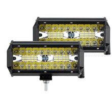 120W off-road pojazdu światło robocze kolumna świetlna światło diodowe do samochodu trzy rzędy 7 cal światła przeciwmgielne reflektory światła samochodowe