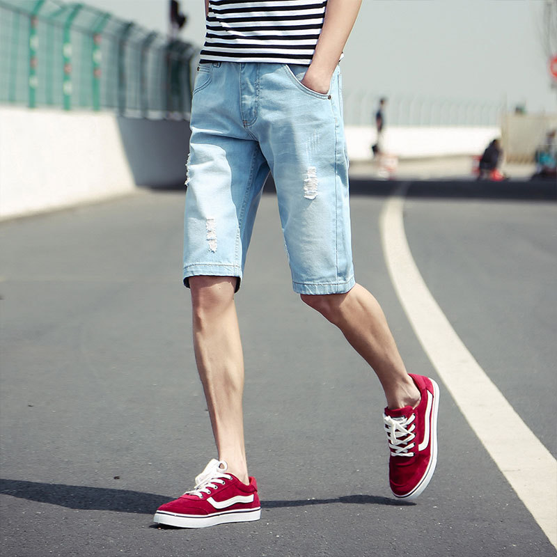 Purchasing Agents With Holes Extra-large Knee-length Denim Shorts Thin Men's Denim Shorts Short Jeans