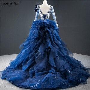 Image 2 - דובאי כחול ארוך שרוול פרחי ערב שמלות 2020 נצנצים ואגלי יוקרה סקסי פורמליות שמלת Serene היל HM67079
