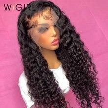 Wigirl água brasileira encaracolado 13x4 perucas de renda 26 28 30 Polegada onda profunda peruca de renda longa para preto feminino