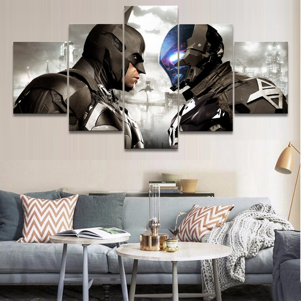 Batman Arkham Knight Game 5 Pieces HD Print Canvas Painting Modern Home Decor Picture Character Poster Wall Art For Living Room image