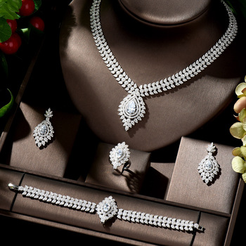 HIBRIDE Beauty Marquised Cut CZ African Jewelry Set Nigerian Wedding White Color Water Drop Women pendientes de fiesta N-980