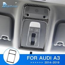 AIRSPEED 1 sztuk dla Audi A3 akcesoria 8V 2014 2015 2016 2017 2018 2019 z włókna węglowego wykończenie wnętrza lampka do czytania naklejki na ramę