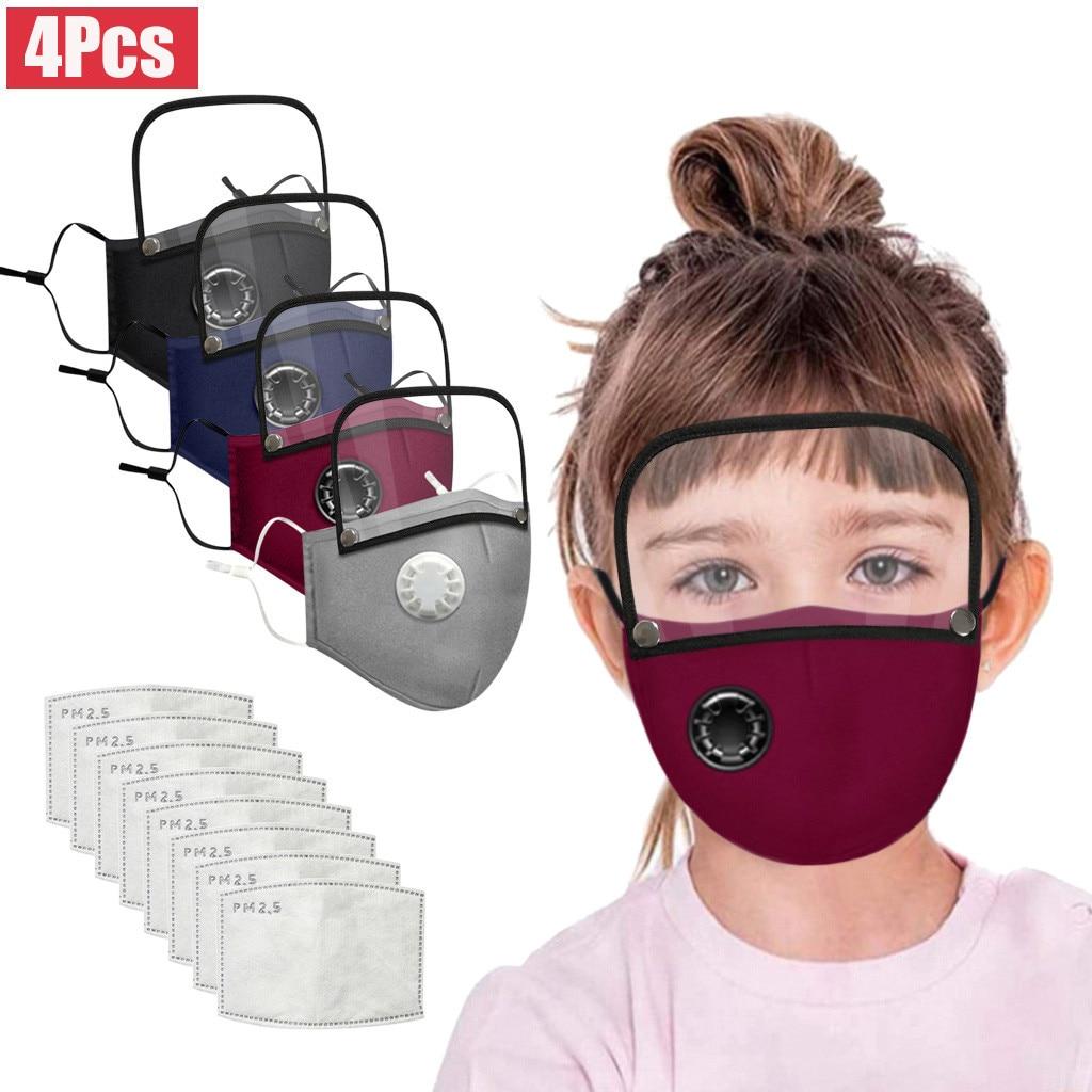 4 шт. детская моющаяся многоразовая маска для лица с фильтром из 8 штук Pm25 и съемным щитом для глаз защита от ушей пылезащитные Тканевые маски Mascarillas|Маски для вечеринки|   | АлиЭкспресс