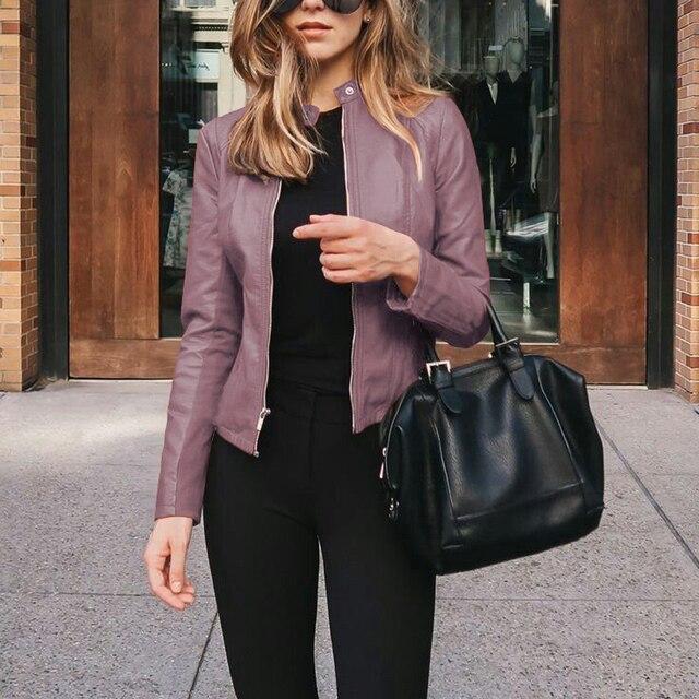 Women's PU Leather Bomber Basic Jacket Coats Autumn Fashion Slim Turn Down Collar Long Sleeve Coats Outwear 12 Colors Options 6