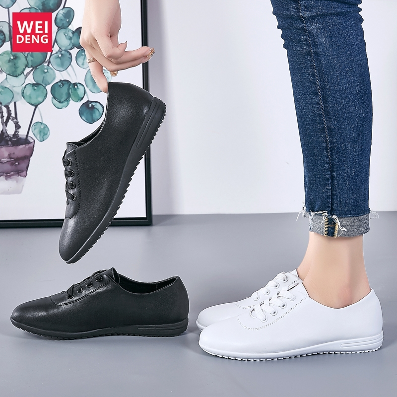 WeiDeng Women 100% Genuine Leather Flat Loafers Soft Non Slip Casual Shoes Female Lace Up Comfortable Breathable HeightLight