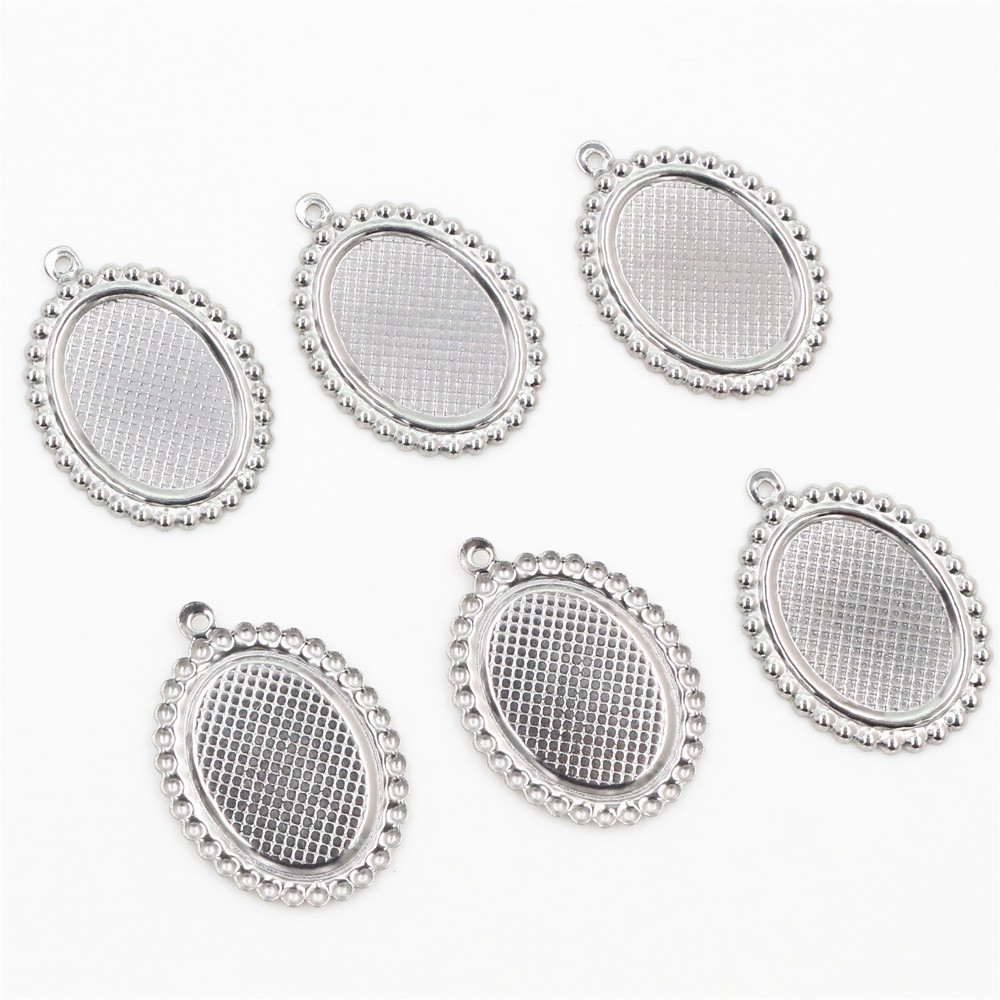 ( No Fade ) 20pcs 13x18mm Inner Size Stainless Steel Material Oval Style Cabochon Base Cameo Setting Pendant Tray (T7-38)