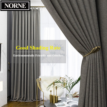 NORNE Faux Linen 80%-85% Shading Thick Thermal Insulated Blackout Curtains Blinds for Bedroom Living Room Drapes Custom Made
