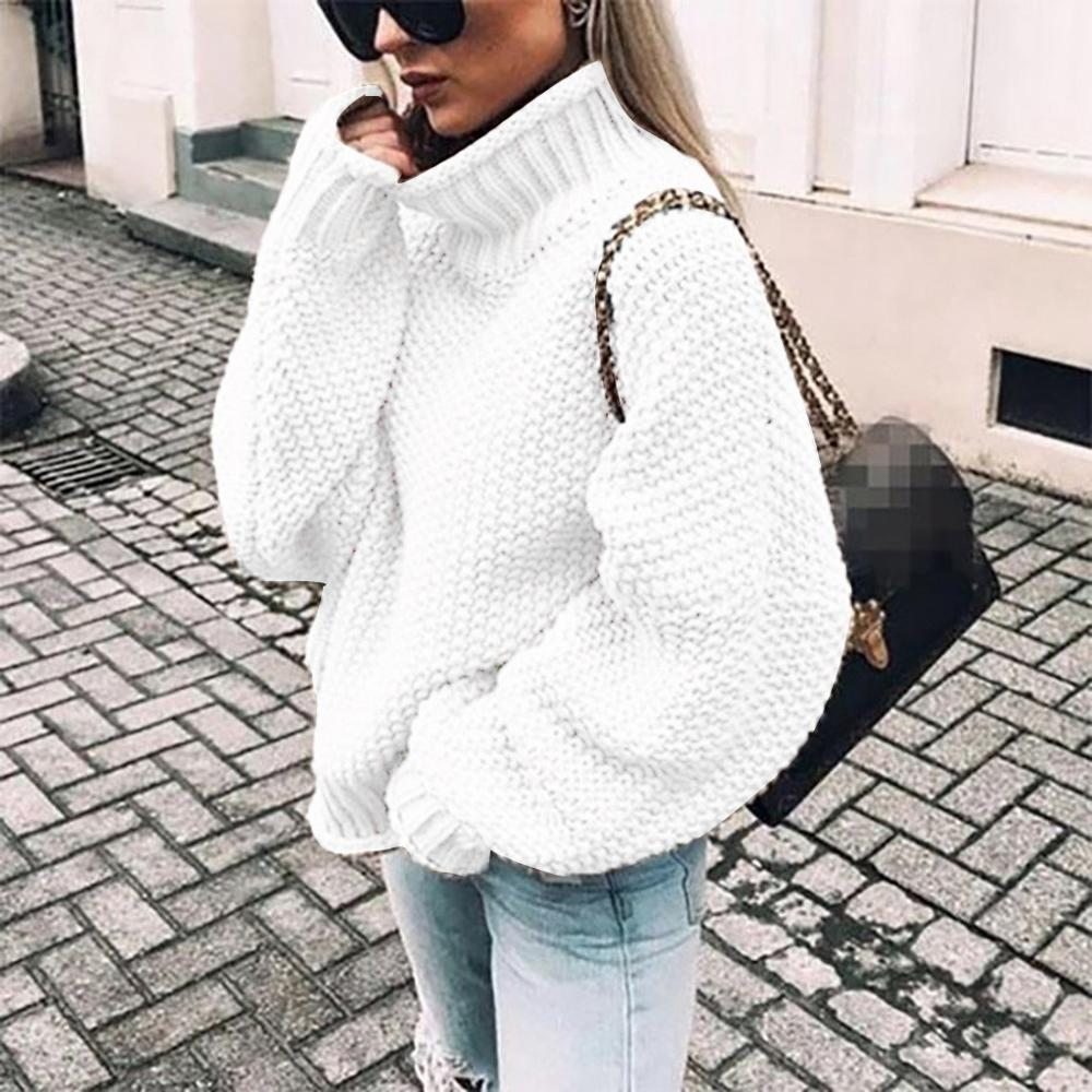 Christmas Sweater Women Casual Shoulder Knitted Loose Turtleneck Tops Long Sweater Водолазка Свитер женский Col Roulé Femme#TN22