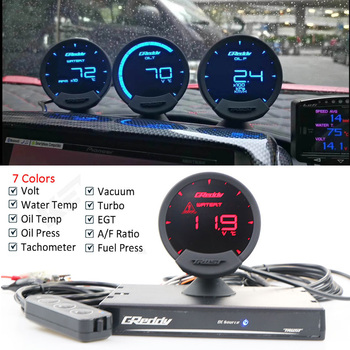 цена на 7 Colors GREDDI Sirius LCD Racing Gauge 74mm Turbo Boost Speed Volts Water Temp Oil Temp Oil Press RPM EGT A/F Fuel Ratio Meter