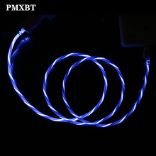 Color Streamer LED Lighting Flow Charger Cable Data USB Glow Wire Cord For iPhone 6S 7 8 Plus 5 5S X XR XS Max iPad Fast Charge