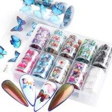 10 Rolls/kutu tırnak folyoları kelebek çıkartmaları renkli siyah mor Nail Art transferi çıkartmaları dövmeler kaydırıcılar sarar manikür TR1797