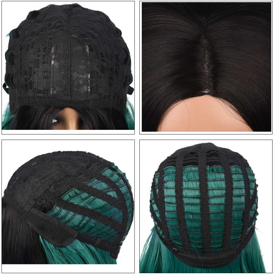 Pelucas de Bob corto recto sedoso de 14 pulgadas, sintético, en parte media, negro, marrón, verde, Rubio, Cosplay, peluca femenina, resistente al calor