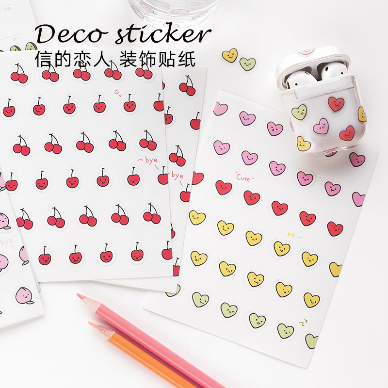 2 Sheets Ins Style Kawaii Fruit Stickers Japanese Small Cute Stickers Scrapbooking Decorative Cartoon Diary Photo Travel Sticker