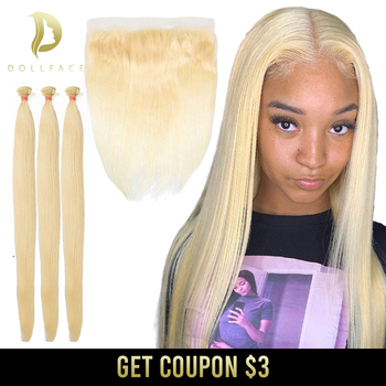 613 Bundles With Frontal Straight Brazilian Hair Weave Bundles Human Hair 30 Inch Hair Extension 3 Blonde Bundles With Closure