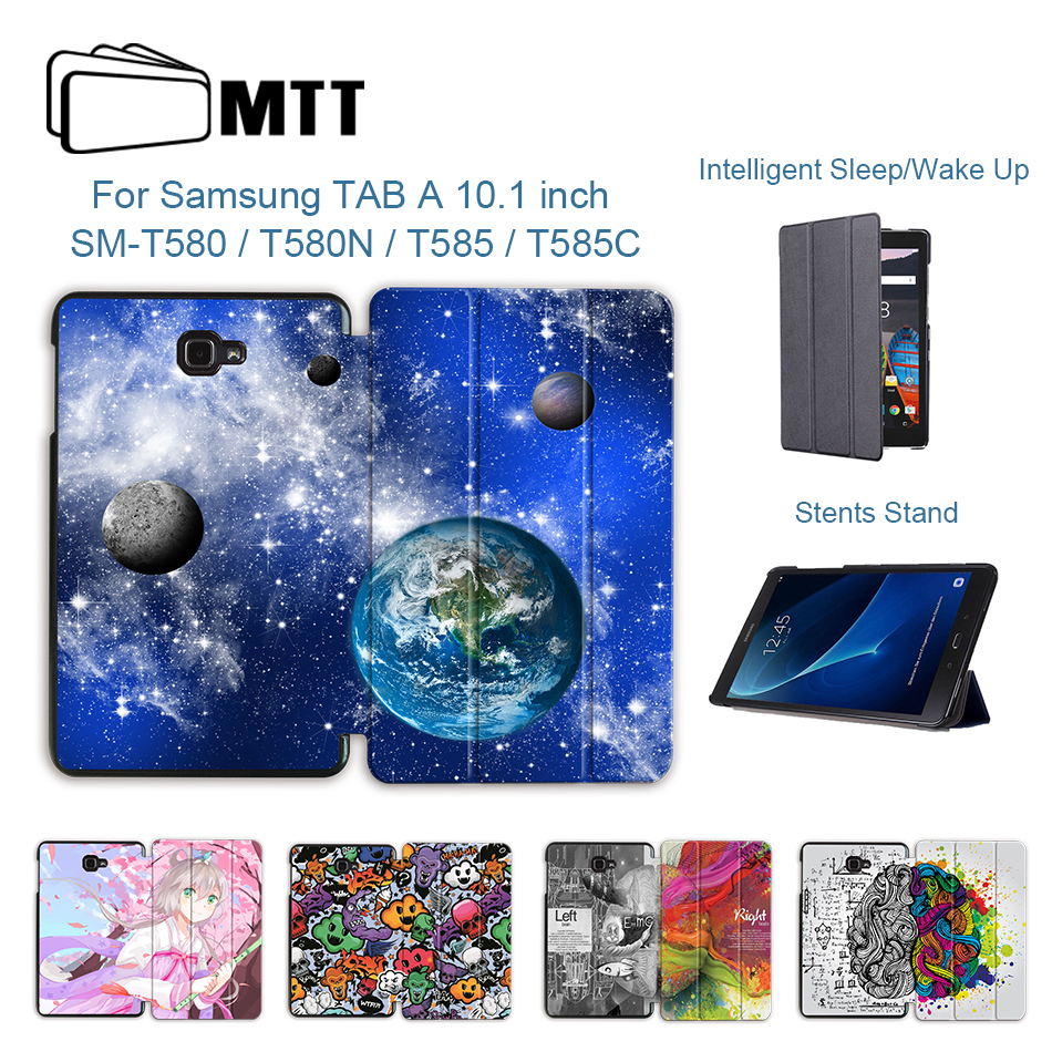 MTT Tablet Case For Samsung Galaxy Tab A A6 10.1 inch SM-T580 <font><b>T585</b></font> Slim Trifold PU Leather Flip Stand Smart Cover Protect Shell image