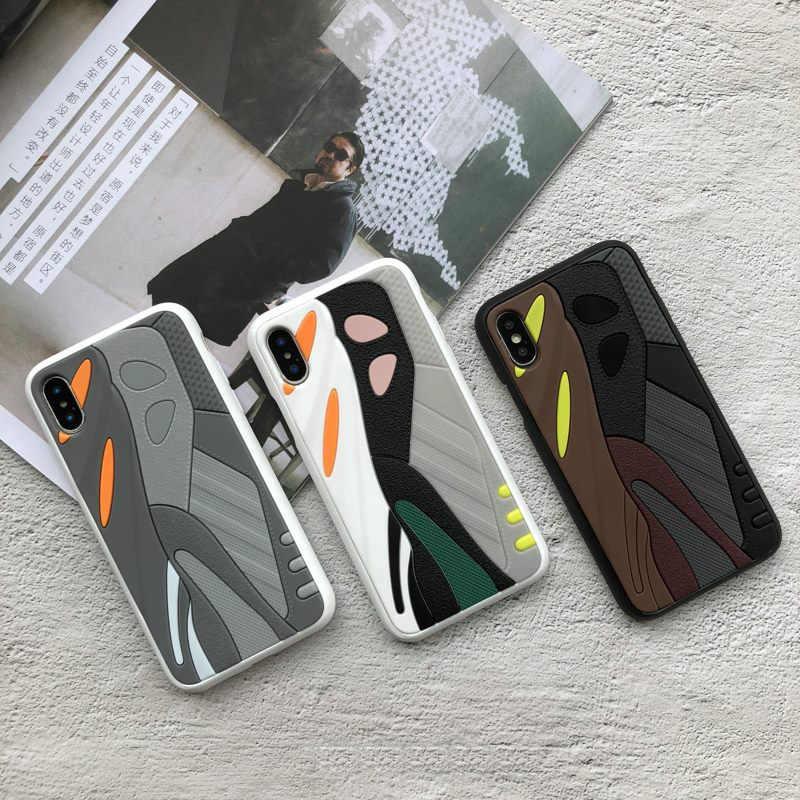 حافظة من السيليكون الناعم Kanye 350 ثلاثية الأبعاد من Hot 700 boost لهواتف iphone7 7plus 8 8plus X 10 XR XS Max ، غطاء خلفي فاخر للأحذية