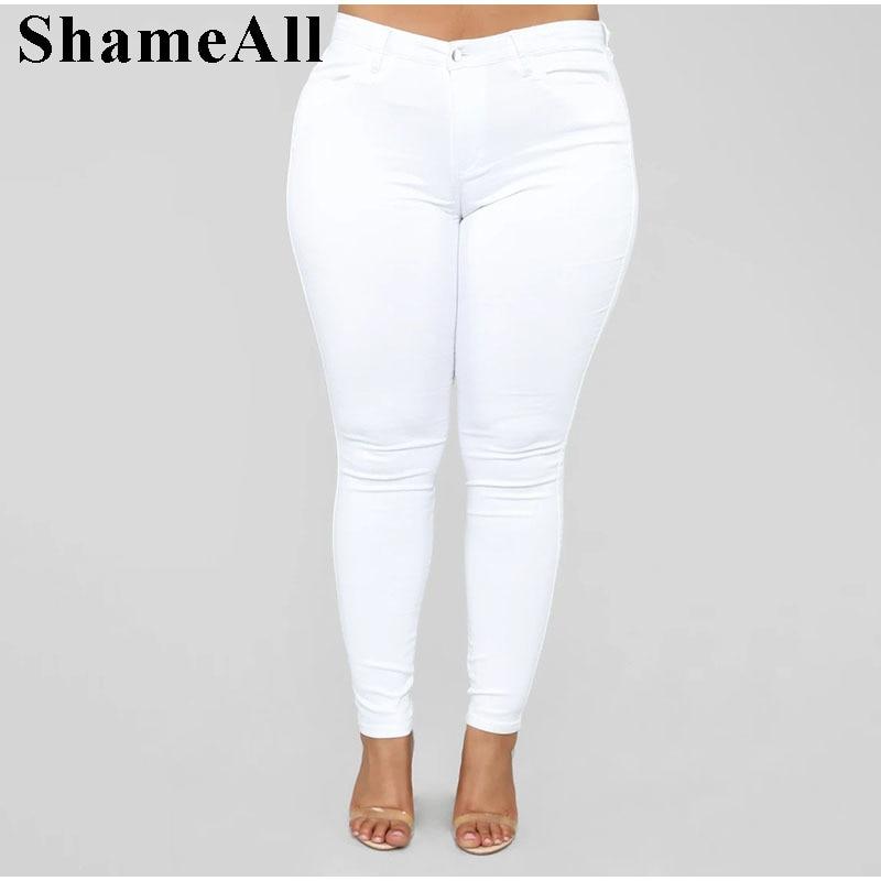 Plus Size Thin White Blue Stretch Skinny Pencil Jeans High Waist 5XL Slim Fit Jeans Mom Women White Wash Long Denim Pants