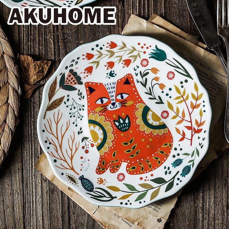 Ceramic Plate 8 Inch Round Dishes Creative Carton Cat Plate Household Tableware Dinner Plates Dessert Plate Dessert Tray Flower